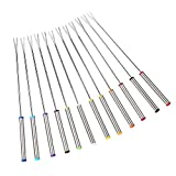"Set of 12 Stainless Steel Fondue Forks 9.5"" - Color Coding Cheese Fondue Forks with Heat Resistant Handle for Chocolate Fountain Cheese Fondue Roast Marshmallows by Sago Brothers"