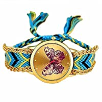MINILUJIA Adjustable Bohemia Charm Butterfly Gold Dial Watch with Colorful Rope Braid Band Women Bracelet Watch (Pink)