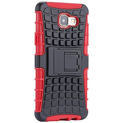 ECENCE Samsung Galaxy A5 (2016) Hybrid Outdoor Funda Cover Coraza Protección Caja Caso Bumper Silicona Azul 12040309 Rojo