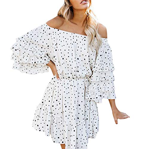 (Copercn Women's Ladies Fresh Dot Strapless 3/4 Tiered Sleeve Off Shoulder Waist-Wrapped Bandage Backless Mini Dresses Swing Short Dresses Puff Dresses Flowy Pleated Dresses Summer Daily Casual Dress)