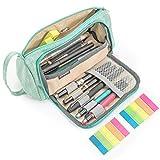 Large Capacity Pencil Pen Case, FollowYT Portable Pencil Case Pen Pencil Bag Pouch Box Organizer Holder for School Office Supplies with 2 PCS Index Tabs (Green)