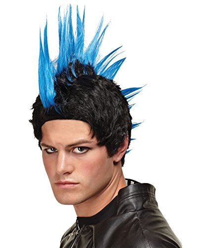 Emo Mens Gothic Wig Punk Rocker Scenester Theatre Costumes Accessory Mohawk Wig Color: Blue