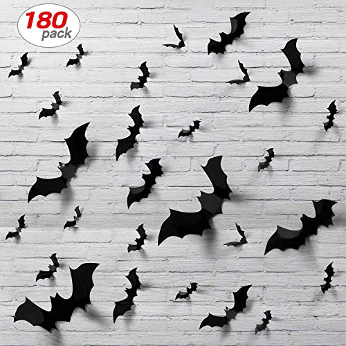 180pcs Halloween Bats Decor Home Decor Sticker Removable Bat Wall Stickers Halloween Bat Decoration Halloween Bat Stickers ()