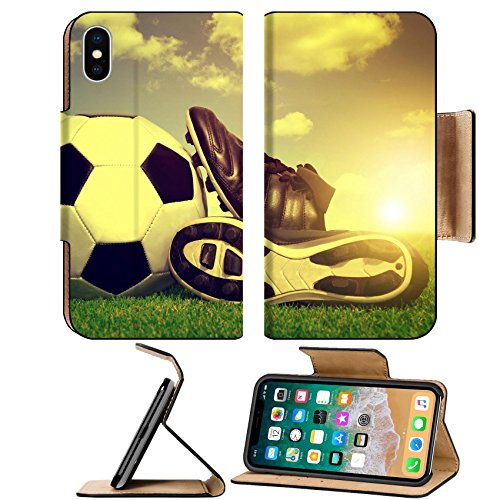 MSD Premium Apple iPhone X Flip Pu Leather Wallet Case IMAGE ID 33242002 Vintage soccer background with ball and cleats