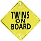 "Twins on Board - 2 Pack - Large 6"" x 6"" Yellow Car Signs with 2 Attached Suction Cups."