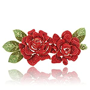 EVER FAITH 2 Romantic Rose Flower 7.8 Inch Brooch Red Austrian Crystal Gold Tone
