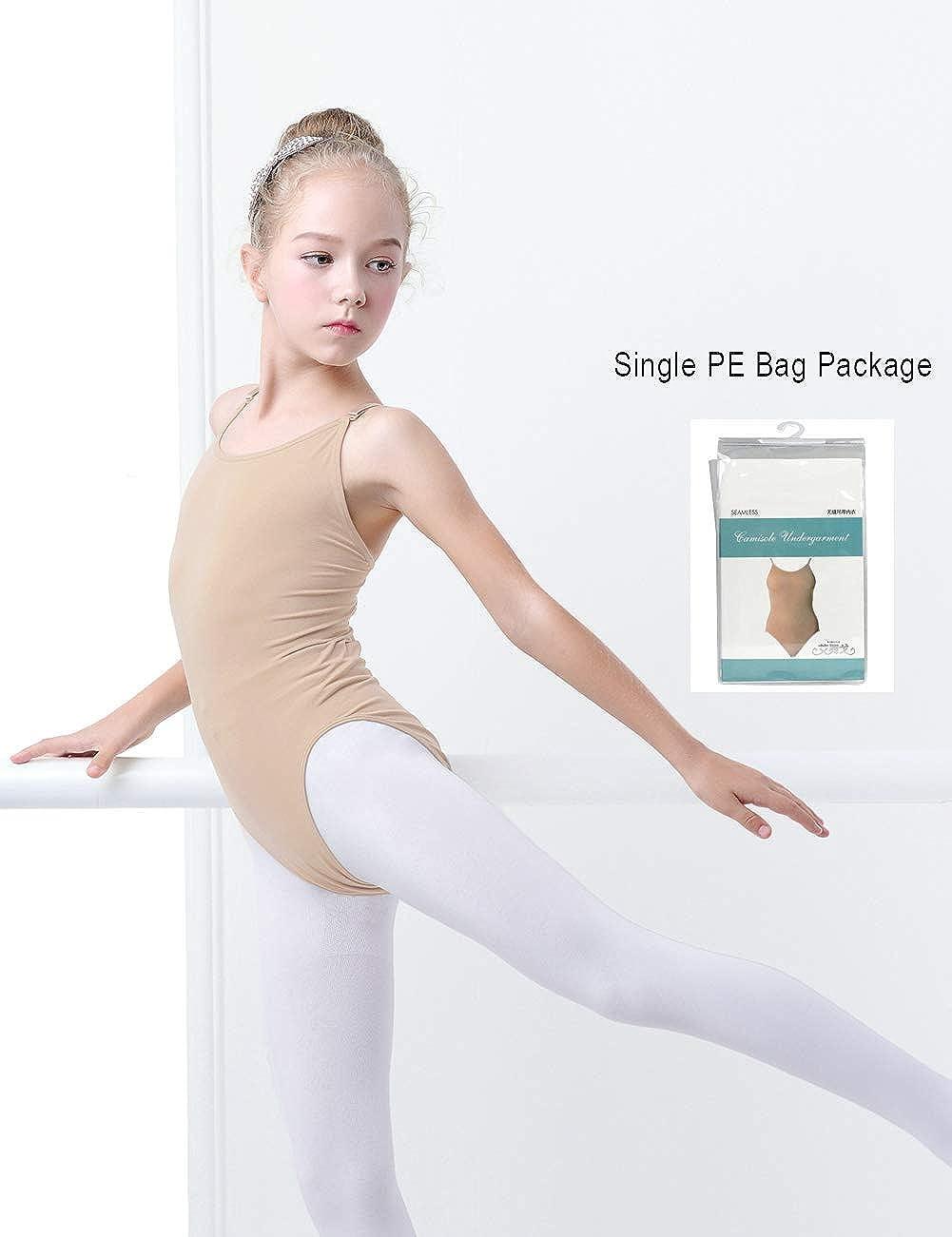 Gymnastics with Adjustable Straps Daydance Tan Leotard Kids Seamless Camisole Dance Leotards for Ballet