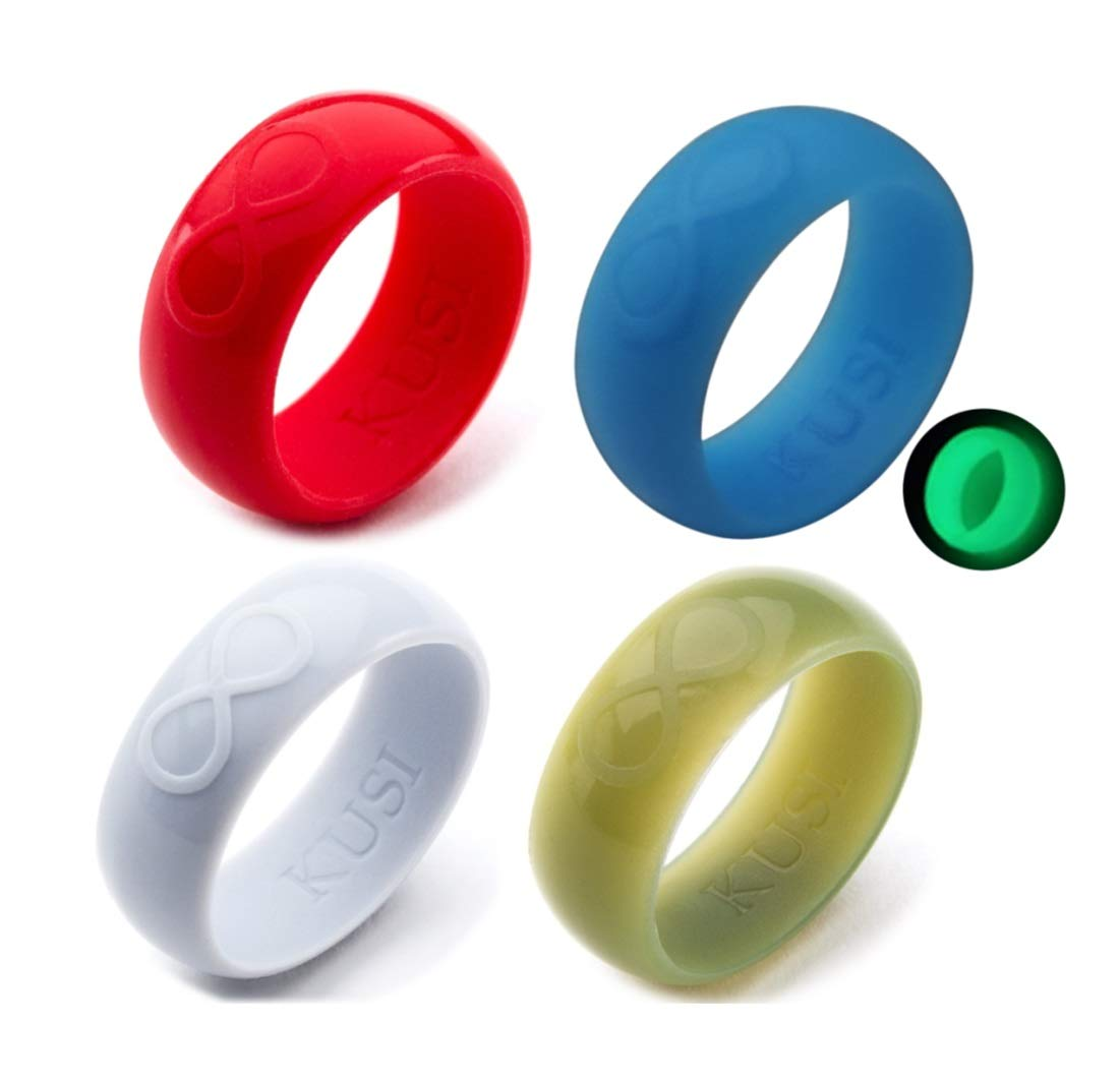 KUSI Silicone Wedding Ring Set for Men, Size 10, Blue Glow in the Dark, Silver, Red, Military Green Silicone Band 4 Pack Rings
