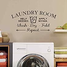 "BATTOO Laundry Room Wall Decal - Wash Dry Fold Wall Stickers Laundry Room Decor Laundry Room Sign Vinyl Decal Sticker(dark gray, 16.5""h x34""w)"