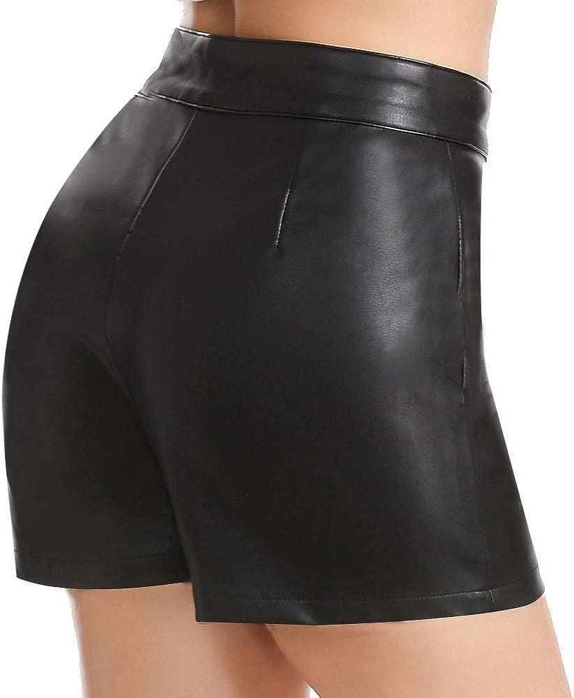 Everbellus Shorts Mujer Cintura Alta Cuero Pantalones Cortos con Cremallera Lateral