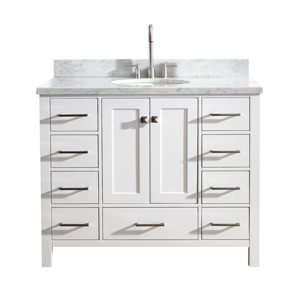 ARIEL Cambridge A043S-VO-WHT 43 Inch Single Oval Sink Hard Plywood White Bathroom Vanity with 1.5 Inch Edge Carrara Marble Countertop