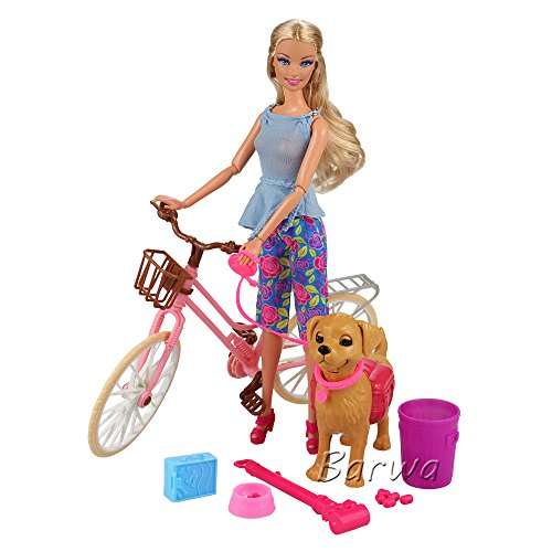 Barwa Pink Doll Bicycle and Dog Puppy Pet with Puppies for Barbie Dolls Rotatable Wheels