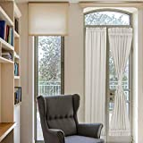 PANOVOUS French DoorCurtains 25x72 Elegant Sidelight Curtains Front Door Window Curtain Panel Cream One Panel