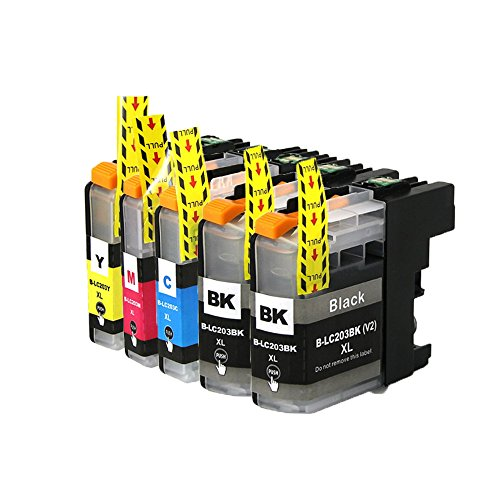 Compatible Cyan Ink Cart - INKMATE Compatible Ink Cartridge For Brother LC203 XL LC203XL High Yield (2 Black LC203BK, 1 Cyan LC203C, 1 Magenta LC203M, 1 Yellow LC203Y) 5 Pack
