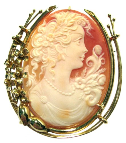 Yellow Gold Cameo Pin - Primavera, Master Carved Carnelian Shell 18k Solid Yellow Gold Cameo Pin Pendant