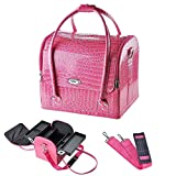 Pink Crocodile Makeup Train Bag Handbag Case w/Removable Tray Cosmetic Jewelry