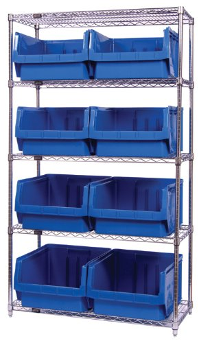 Quantum Storage Systems WR5-543RD 5-Tier Complete Wire Shelving System with 8 QMS543 Red Magnum Bins, Chrome Finish, 18