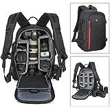 Abonnyc Large DSLR Camera Backpack Bag Case/Oxford Hiking Bag Laptop Travel Backpack Gadget Bag w/Rain Cover, Black