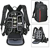 Abonnyc Large DSLR Camera Backpack Bag Case / Oxford Hiking Bag Laptop Travel Backpack Gadget Bag w/ Rain Cover , Black