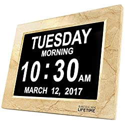 [Newest Version] Day Clock - Extra Large Impaired Vision Digital Clock with Battery Backup & 5 Alarm Options (Cream Marble Color)