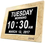 [Newest Version] Day Clock - Extra Large Impaired Vision Digital Clock with Battery Backup & 5 Alarm Options (Cream Marble Color) (Kitchen)