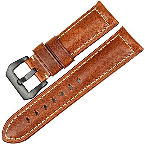 Watch 5 Vintage (MAIKES Watch Accessories Vintage Leather Watch Strap 5 Colors Available Watchband 22mm 24mm 26mm Watch Band (Band Width 24mm, Light Brown+Black Clasp))