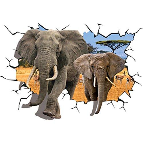 (Wall Stickers ,Ikevan African Animal Elephants Antelope Wall Sticker Bedroom 3D Wall Decor 70x100 cm )