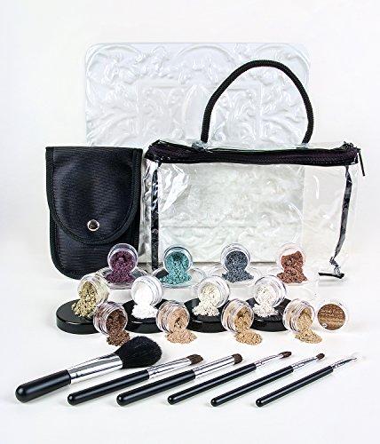 20pc STARTER KIT w/BRUSHES (FAIR 2 & PINK BISQUE) Mineral Makeup Sample Size Set Foundation Blush Veil Eye Shadows