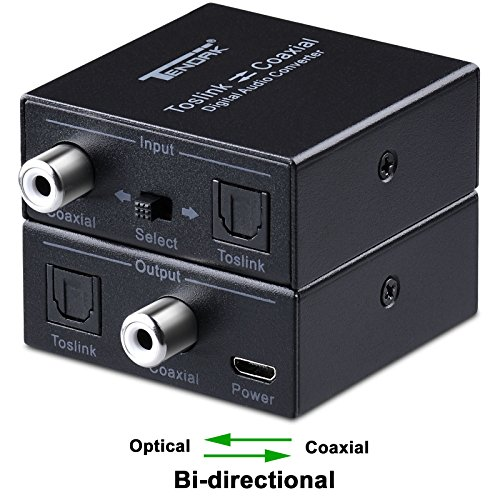Toslink Coaxial Converter (Optical to Coax, Tendak Optical SPDIF Toslink to Coaxial and Coaxial to Optical SPDIF Toslink Bi-directional Swtich Digital Audio Converter Splitter Adapter)
