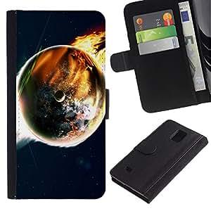 """Samsung Galaxy Note 4 IV / SM-N910 , la tarjeta de Crédito Slots PU Funda de cuero Monedero caso cubierta de piel ("""" Doomsday End World Art Earth Flames Apocalypse"""")"""