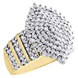 Jewelryhub 14K Yellow Gold Over Alloy White CZ Cluster Marquise Statement Ring Right Hand Band 1CT