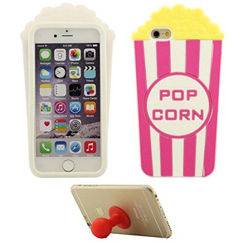 Coque Étui de Protection pour Apple iPhone 7 4.7 inch Doux Silicone Case Anti choc Couverture arrière Pop corn avec 1 Silicone Kickstand
