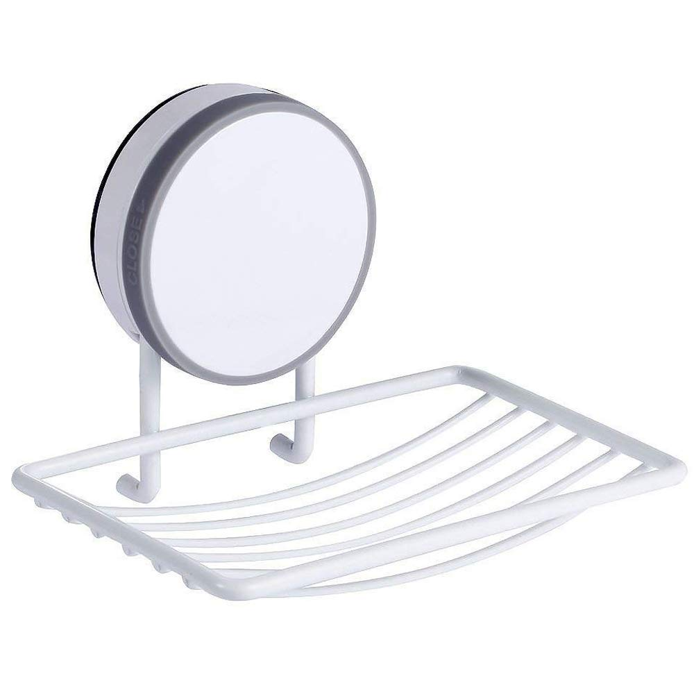 CAVN Super Power Vacuum Soap Dish Suction Cup, Adhesive Reusable Waterproof Soap Dish Holder Storage Saver Wall Mounted Kitchen Sink Bathroom Shower, Drainable, No Drill, No Mark