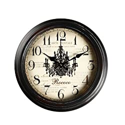 Adeco CK0019 14~15 Black Brown Antique-Look Dial Decorative Vintage Retro Traditional Wall Hanging Round Rococo Chandelier Detail, Round Circle Iron Clock, Arab Numbers, Silent Battery Quartz, Non Ticking Silent Hands, Home Office Decor, Brown