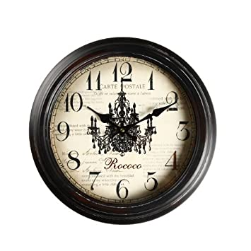 Adeco CK0019 14 15 Black Brown Antique-Look Dial Decorative Vintage Retro Traditional Wall Hanging Round Rococo Chandelier Detail, Round Circle Iron Clock, Arab Numbers, Silent Battery Quartz, Non Ticking Silent Hands, Home Office Decor, Brown