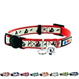Pawtitas Pet Glow In The Dark Cat Collar With Safety Buckle And Removable Bell Red / Collier luminescent Pet pour chat Rouge