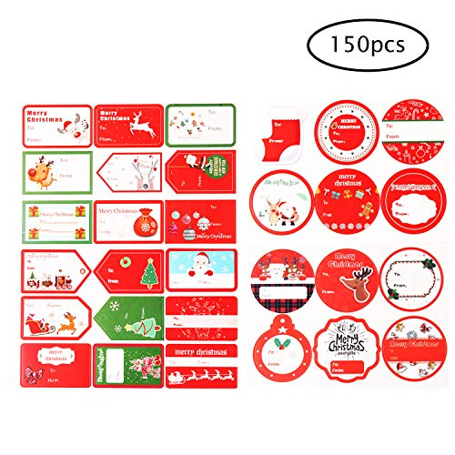 (Christmas Sticker Labels, Jumbo Self Adhesive Gift Stickers Santa Snowmen Xmas Tree Deer Holiday Gift Name Decals for Present/Wrapping Paper Decorations (150 Count))