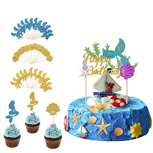 Halofuno 37 Pcs Glitter Mermaid Cake Topper Set with Mermaid Shell Cupcake Toppers, Mermaid Tail Happy Birthday Cake Decoration Picks for Mermaid Theme Birthday Party, Baby Shower