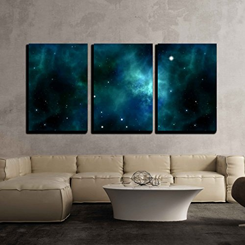 an Image of a Space and Stars Background x3 Panels