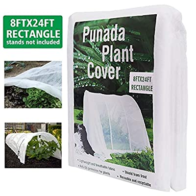 punada Premium Plant Covers Freeze Protection 8Ft x 24Ft Reusable Plant Covers for The Winter Frost Freeze Protection Covers Anti-UV for Snow Animal 19.2 OZ (Frame not Include) from punada