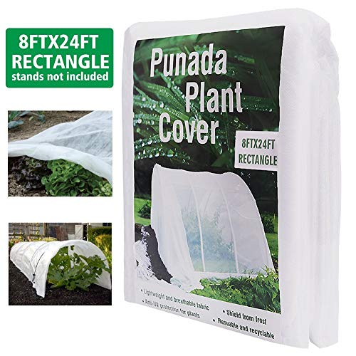 punada Premium Plant Covers Freeze Protection 8Ft x 24Ft Reusable Plant Covers for The Winter Frost Freeze Protection Covers Anti-UV for Snow Animal 19.2 OZ (Frame not - Row Fabric Cover