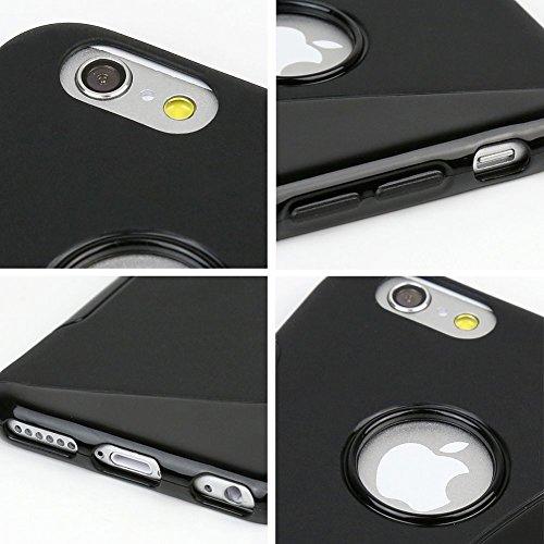 Apple iPhone 6s Plus Glasfolie Panzerglas TPU Hülle Tasche Schutzglas Glas 9H, Farben:Schwarz