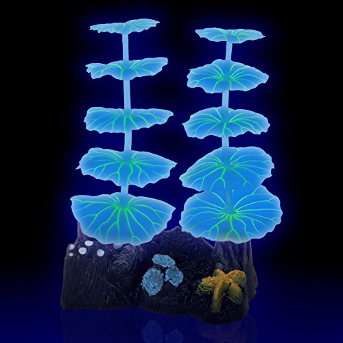 Artificial Aquatic Plants Aquarium Fish Tank Decorations 5.3 Inch Fresh Salt Water Realistic Glowing Effect Actinic Lighting Non Toxic Silicone Resin Thin Invisible Line Suction Cups