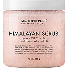 Majestic Pure Organic Himalayan Lychee Pink Crystal Salt Body Scrub will help you relax & wash away tension. Himalayan Crystal Salt provides a perfect mineral-rich buffer to remove the dull, dead skin cells, bringing new life to your skin...