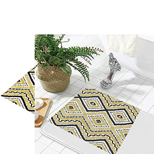 "YOLIYANA Polyester Carpet,Gold and White,for Meeting Room Dining Room,19.69"" x31.5"