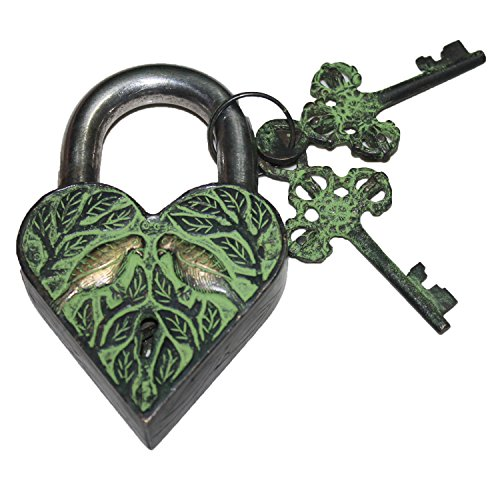 PARIJAT HANDICRAFT Functional Brass Beautiful Padlocks with Two Keys Garden Lock Functional Heart Shape with Love Bird Engraved Handcrafted Antique Finished Brass Metal Padlock With 2 Keys Heart (Antique Brass Heart Shape)