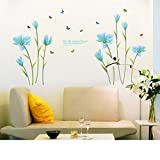 WDA Romantic Blue Lily Wall Stickers Flowers Wall Decals Life Like Summer Flower Living Room Bedroom Removable PVC Wall Stickers Murals Living Room Bedroom Nursery Decoration