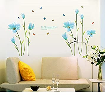Romantic Blue Lily Wall Stickers Flowers Wall Decals Life Like Summer  Flower Living Room Bedroom Removable