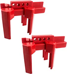 """QWORK Small Ball Valve Lockout Fit for 1/2""""-2-1/2"""" OD Pipe, Red"""