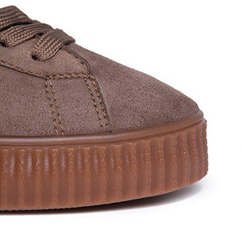 J. Sneaker Creeper Della Piattaforma Di Adams - Scarpa Allacciata Vegana Alla Moda - Cute Flat In Finta Pelle Scamosciata - Vince Di Taupe Gum